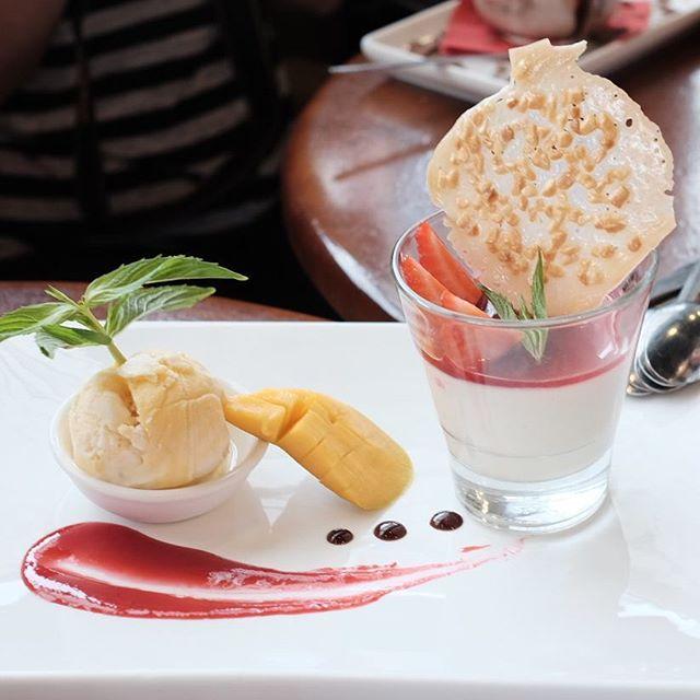 Kaffir lime panna cotta with strawberry coulis and mango sorbet at @dessert.room. #perth #perthfood #perthfoodblogger #perthfoodblog #food #foodblogger #foodblog #foodstagram #yelpperth #foodie #perthisok #pertheats #urbanlisted #tasteperth #fcba #atasteofperth #morsels