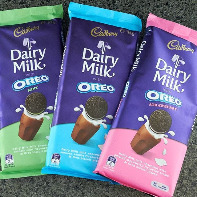 These new Cadbury Oreo chocolates are worth trying if you're a fan of such things. There's quite a lot of flavoured cream inside, and I found the fake strawberry too strong. The mint was definitely my favourite.