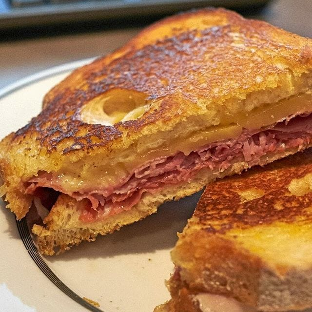 A working lunch at home today…a delicious toasted sandwich made with sourdough, ham, hot Hungarian salami and Gouda from Napoli Mercato in Harrisdale. Yum!