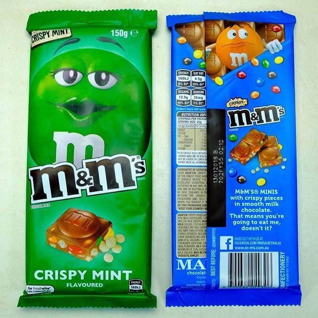 Here's some more chocolate from the underwhelming department. The milk choc itself is not great quality, and the mini m&m's are padded out with crispy bits – I was expecting crispy m&m's. Wish I'd tried the hazelnut one. At $4.80 each from Woolies these are very expensive.