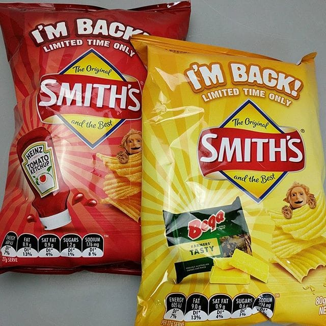 Chippies!! Smith's have brought some old varieties back, and they're not a bad effort – at least they resemble the advertised flavours. Out of the two, the tomato ketchup is definitely my favourite, and easier to eat in bulk  ? – –
